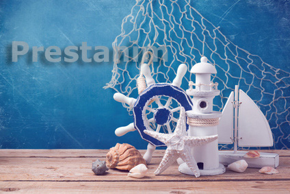 Marine lifestyle decorations on wooden table